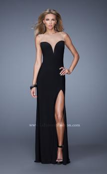 Picture of: Long Prom Gown with Slit and Sheer Illusion Netting in Black, Style: 20958, Main Picture
