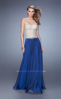 Picture of: Strapless Long Prom Dress with Sheer Corset Bodice in Blue Gold, Style: 20969, Main Picture