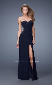 Picture of: Long Jersey Prom Dress with Sheer Sides and Beaded Lace in Plum, Style: 20972, Main Picture