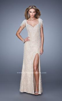 Picture of: Vintage Inspired Beaded Lace Gown with Cap Sleeves in Nude, Style: 20973, Main Picture