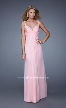 Picture of: Long Chiffon Prom Dress with Gathered Knot Detailing in Pink, Style: 20978, Main Picture