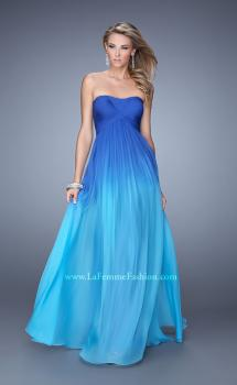 Picture of: Long Ombre Chiffon Prom Dress with Gathered Waist in Blue, Style: 20986, Main Picture