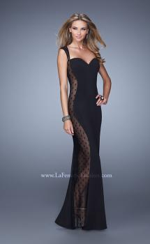 Picture of: Cap Sleeve Long Jersey Dress with Polka Dot Lace in Black, Style: 20989, Main Picture