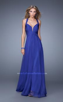 Picture of: V Neckline Long Prom Dress with Sheer Fabric Detail in Blue, Style: 20995, Main Picture