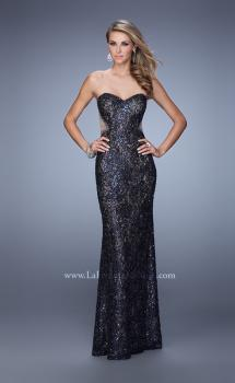 Picture of: Long Beaded Lace Gown with Sheer Illusion Sides, Style: 20999, Main Picture