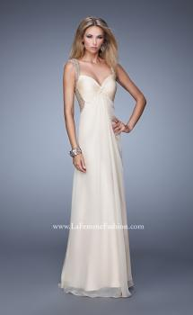 Picture of: Long Chiffon Gown with Knotted Bust and Beading, Style: 21012, Main Picture
