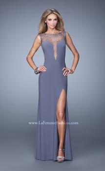 Picture of: Scattered Stone Long Prom Dress with Side Leg Slit in Gray, Style: 21018, Main Picture