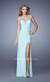 Picture of: Deep V Jersey Dress with Sheer Illusion Netting, Style: 21020, Main Picture