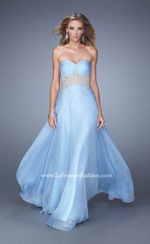 Picture of: Long Strapless Gown with Gathered Bodice and Pearls in Blue, Style: 21022, Main Picture