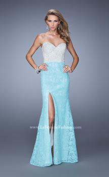 Picture of: Strapless Lace Dress Encrusted with Pearls and Stones in Aqua, Style: 21023, Main Picture