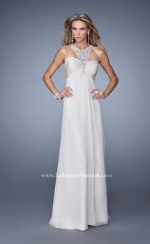 Picture of: Chiffon Halter Gown with Pearl Encrusted Embroidery, Style: 21025, Main Picture