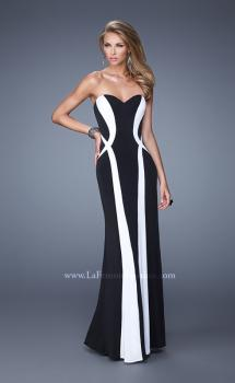 Picture of: Floor Length Prom Gown with Pearl Accents in Black White, Style: 21028, Main Picture
