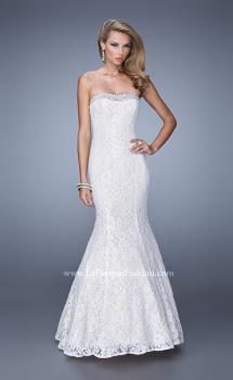 Picture of: Long Lace Mermaid Gown with Pearls and Rhinestones in White, Style: 21034, Main Picture