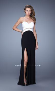 Picture of: Jersey Dress with Cut Outs and Diamond Shape Opening in Black White, Style: 21051, Main Picture