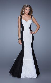 Picture of: Long Chic Sleeveless Gown with Lace Panels in Black White, Style: 21052, Main Picture