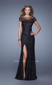 Picture of: Sultry Sequin Prom Dress with Cap Sleeves and Slit in Black, Style: 21058, Main Picture