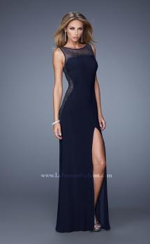 Picture of: Glam Long Jersey Dress with Sheer Neckline and Stones in Black, Style: 21069, Main Picture