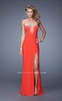 Picture of: Embellished Jersey Prom Dress with Sheer Detail in Red, Style: 21071, Main Picture
