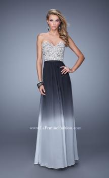 Picture of: Long Ombre Chiffon Dress with Beading and Belt in Black, Style: 21074, Main Picture