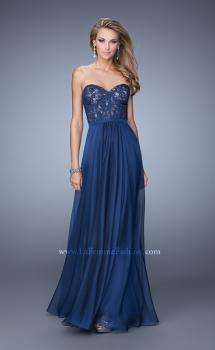 Picture of: Chiffon Prom Dress with Jeweled Lace Overlay, Style: 21079, Main Picture