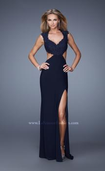 Picture of: Long Cap Sleeve Gown with Cut Outs and Jeweled Lace in Black, Style: 21082, Main Picture