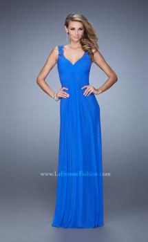 Picture of: Embellished Long Prom Gown with Ruched Bodice in Blue, Style: 21084, Main Picture