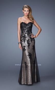Picture of: Strapless Sequin Prom Dress with Lace Appliques, Style: 21088, Main Picture