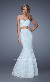 Picture of: Lace Two Piece Prom Dress with Mermaid Skirt in Blue, Style: 21096, Main Picture