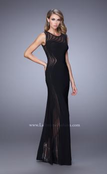 Picture of: Sleeveless Prom Dress with Sheer Neckline and Piping in Black, Style: 21097, Main Picture