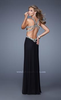 Picture of: Elegant Embroidered Long Gown with Sheer Overlay in Black, Style: 21101, Main Picture