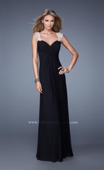 Picture of: Classic Dress with Sheer Straps and Gathered Knot Detail in Black, Style: 21104, Main Picture