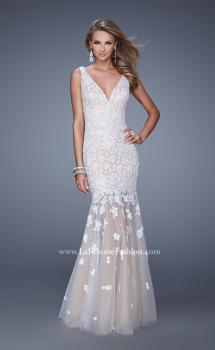 Picture of: Long Lace Prom Dress with Sheer Tulle Skirt and Lace in White, Style: 21105, Main Picture