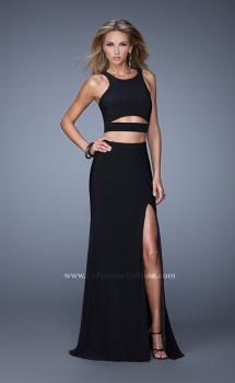 Picture of: Striking Jersey Long Gown with Racer Back and Cut Outs in Black, Style: 21106, Main Picture
