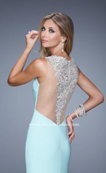 Picture of: Sultry Long Jersey Prom Dress with Beading and Slit in Mint, Style: 21111, Main Picture