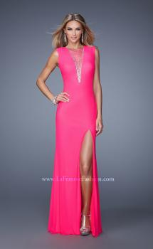 Picture of: Long Jersey Prom Gown with Low V Neck and Rhinestones in Hot Pink, Style: 21112, Main Picture