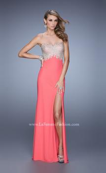 Picture of: Metallic Embroidered Prom Dress with Sheer Back in Coral, Style: 21113, Main Picture