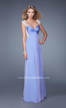 Picture of: Chiffon Prom Gown with Knot Detail and Sheer Accents in Purple, Style: 21116, Main Picture