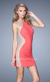 Picture of: Short Cocktail Dress with Sheer Straps and Scoop Neck in Coral, Style: 21117, Main Picture