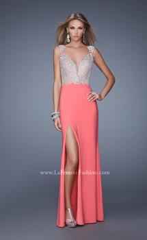 Picture of: Embroidered Dress with Beaded Straps and Open Back in Coral, Style: 21120, Main Picture