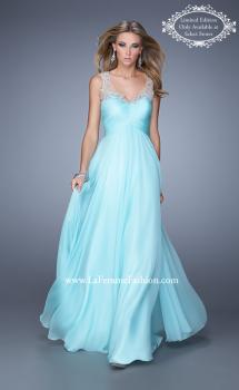 Picture of: Long Chiffon Prom Gown with Sheer Embroidered Straps in Aqua, Style: 21130, Main Picture