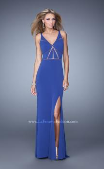 Picture of: Fitted Geometric Prom Dress with V Neck and Slit in Blue, Style: 21142, Main Picture