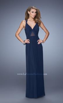 Picture of: Simple Long Jersey Prom Dress with Crisscross Straps in Navy, Style: 21143, Main Picture
