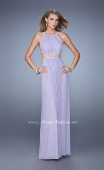 Picture of: Modern Jersey Prom Dress with High Neck and Gathering in Lavender, Style: 21145, Main Picture