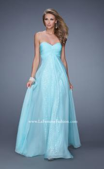 Picture of: Long Chiffon Gown with Know Detail and Sequin Underlay in Mint, Style: 21148, Main Picture