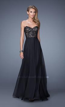 Picture of: Long Chiffon Prom Gown with Jeweled Embroidery in Black, Style: 21153, Main Picture