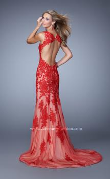 Picture of: Mermaid Prom Dress with Net and Lace Appliques in Red, Style: 21156, Main Picture
