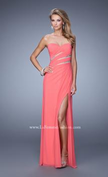 Picture of: Long Jersey Dress with Embellished Sheer Cut Outs in Coral, Style: 21157, Main Picture