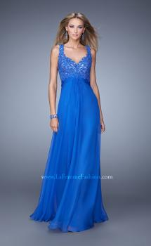 Picture of: Long Jewel Encrusted Lace Bodice Prom Dress, Style: 21166, Main Picture