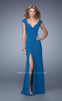 Picture of: Cap Sleeve Prom Dress with V Neck and Crisscross Straps in Blue, Style: 21169, Main Picture