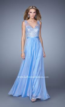 Picture of: Sequined Bodice Long Prom Dress with Sheer Overlay, Style: 21176, Main Picture